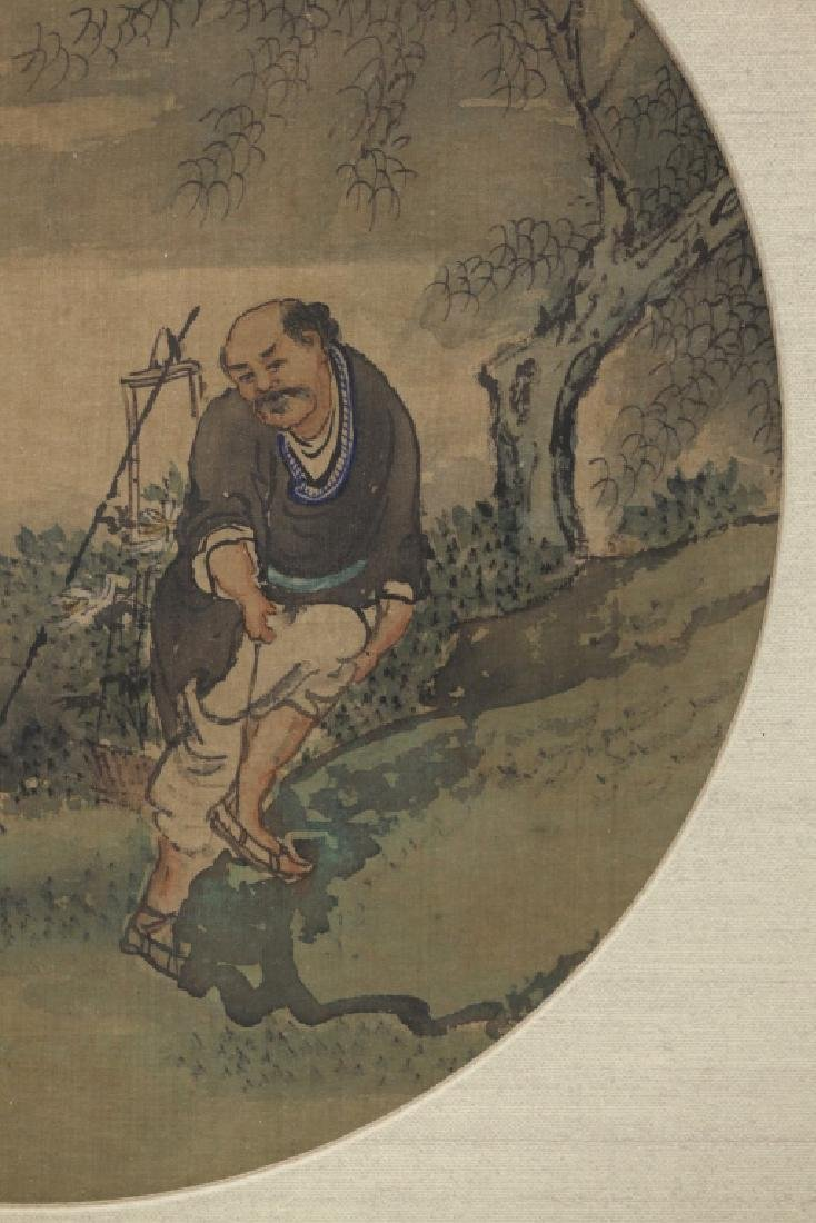 12 Chinese Round Fan Album Paintings on Silk - 10