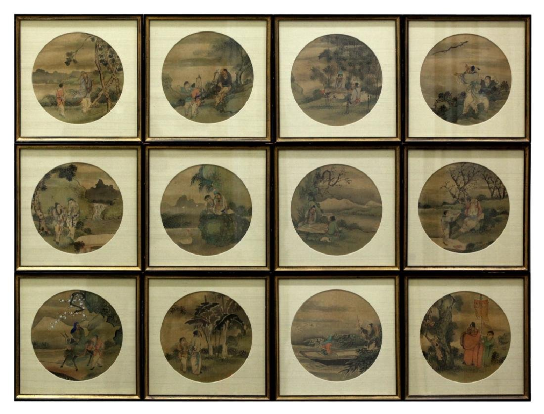 12 Chinese Round Fan Album Paintings on Silk