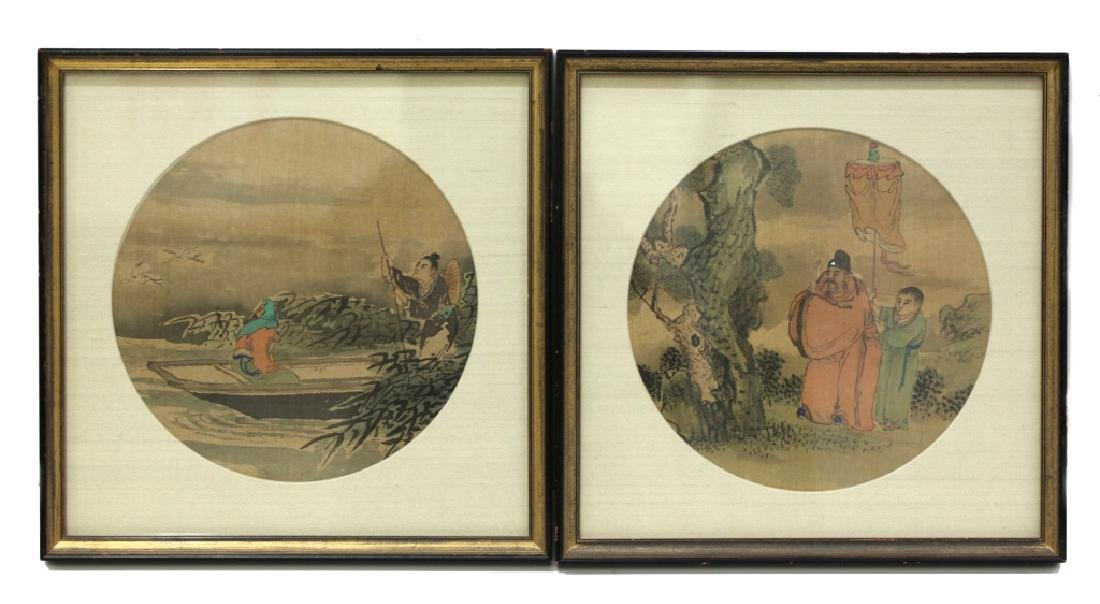 12 Chinese Round Fan Album Paintings on Silk - 2