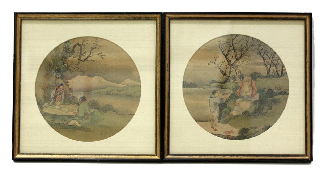 12 Chinese Round Fan Album Paintings on Silk - 3