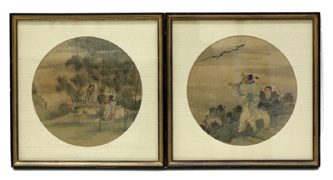 12 Chinese Round Fan Album Paintings on Silk - 4