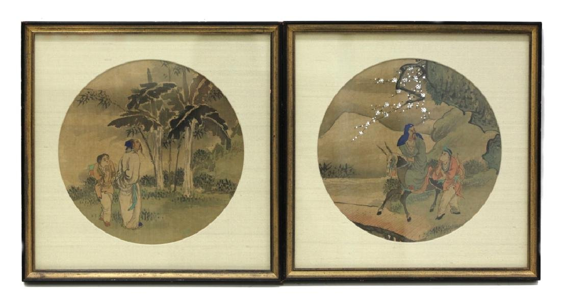 12 Chinese Round Fan Album Paintings on Silk - 5