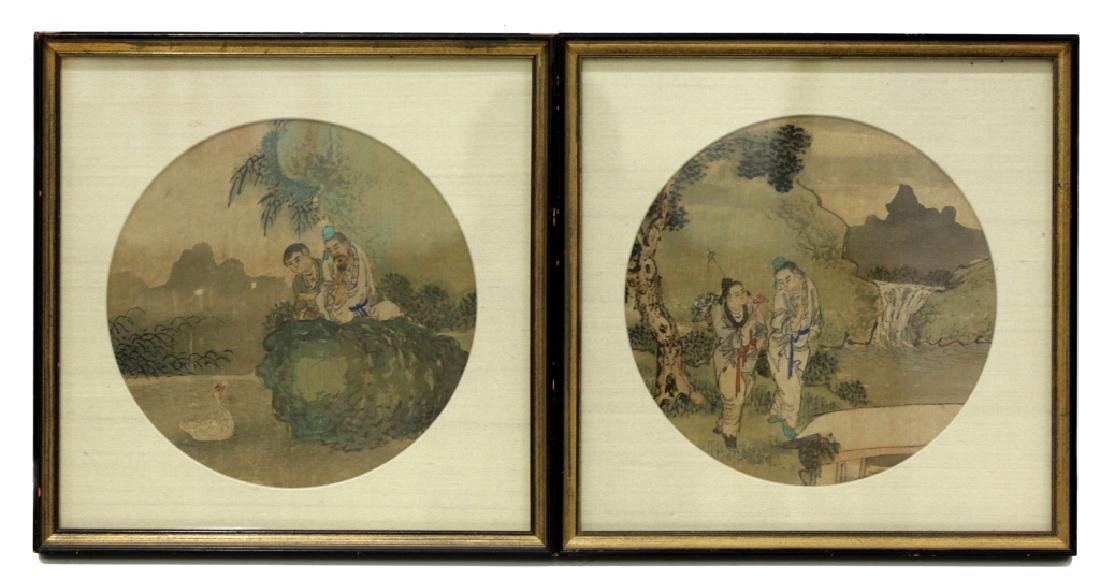 12 Chinese Round Fan Album Paintings on Silk - 6