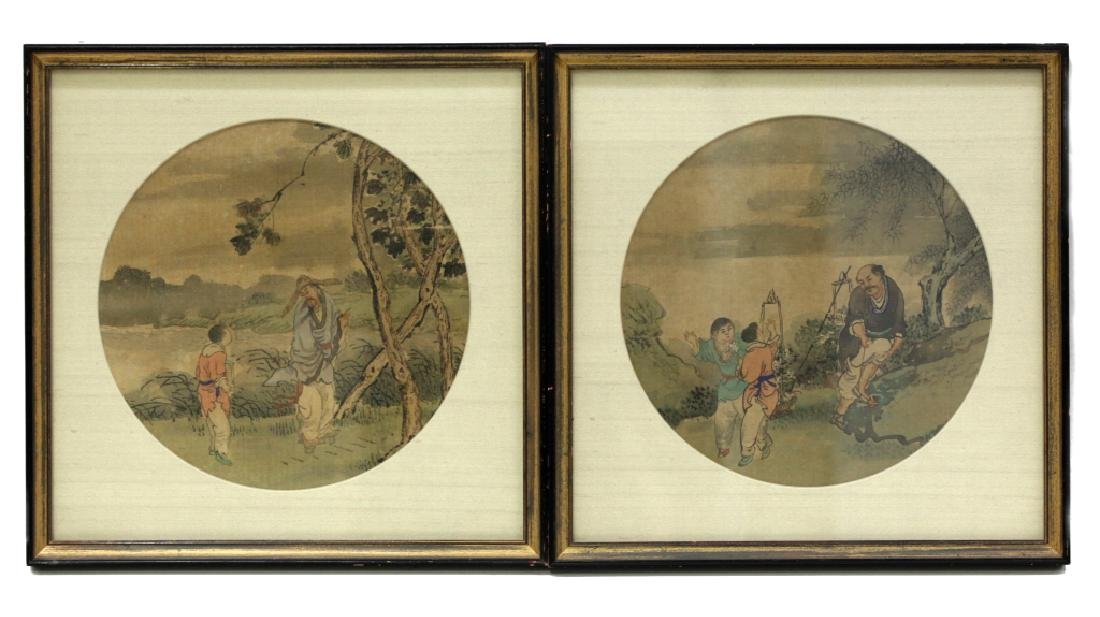 12 Chinese Round Fan Album Paintings on Silk - 7