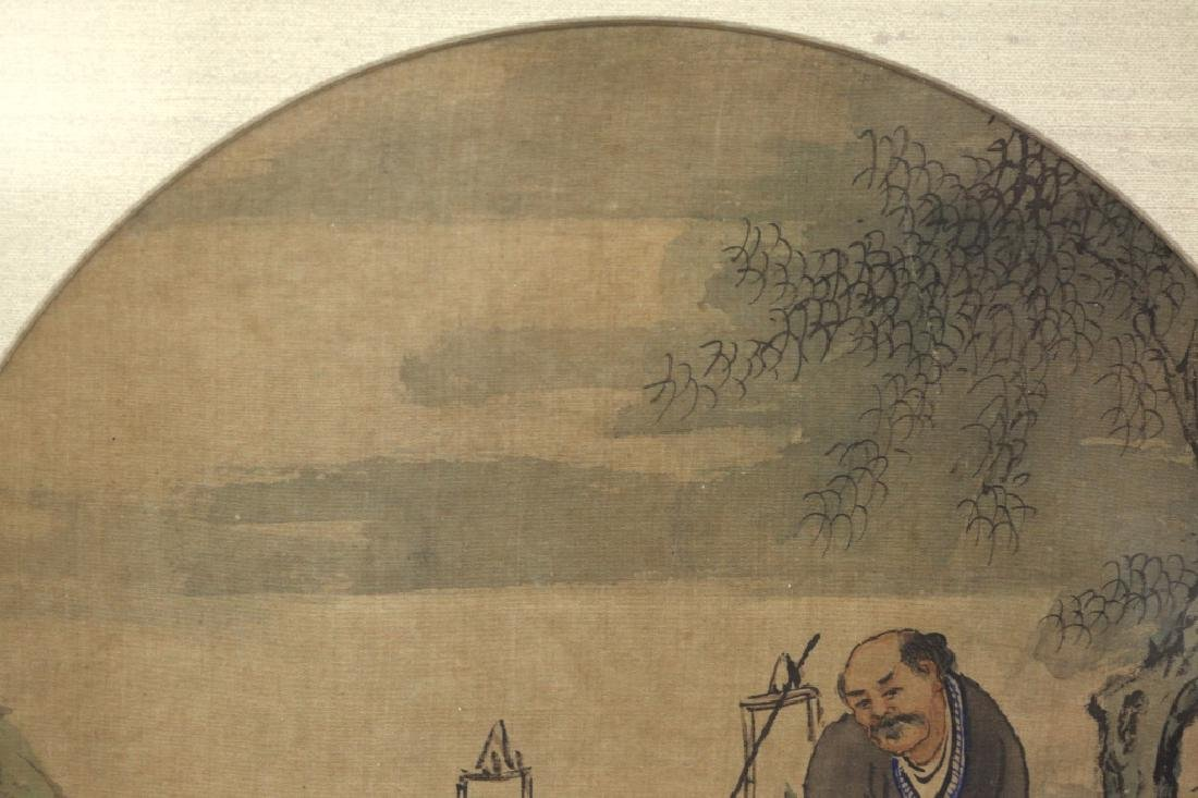 12 Chinese Round Fan Album Paintings on Silk - 8