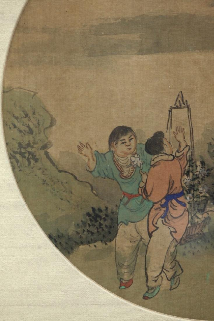 12 Chinese Round Fan Album Paintings on Silk - 9