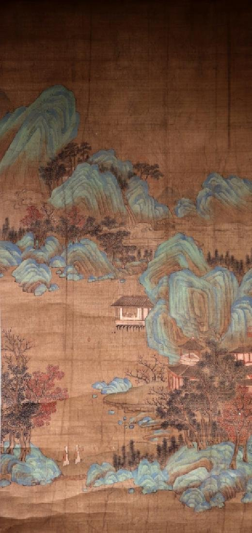 Chinese Qing Dynasty Painting on Silk of Mountains