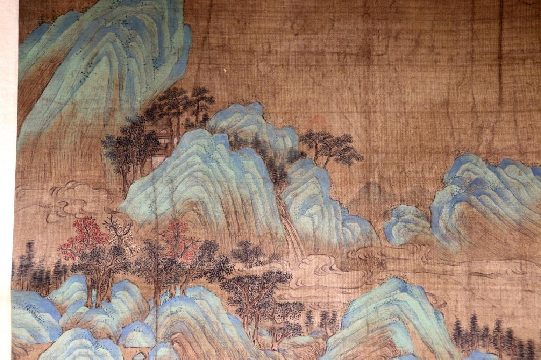 Chinese Qing Dynasty Painting on Silk of Mountains - 2