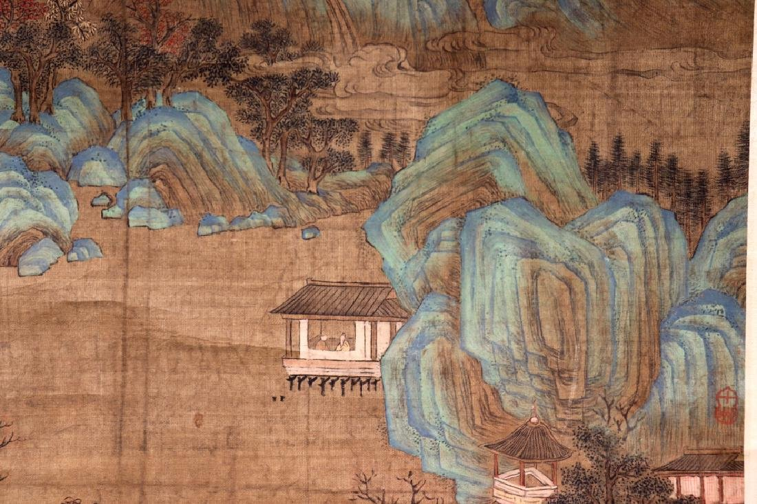 Chinese Qing Dynasty Painting on Silk of Mountains - 3