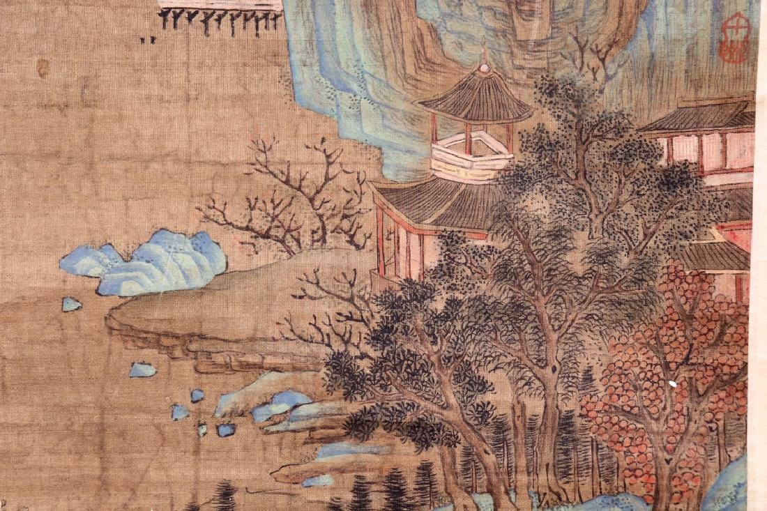 Chinese Qing Dynasty Painting on Silk of Mountains - 4