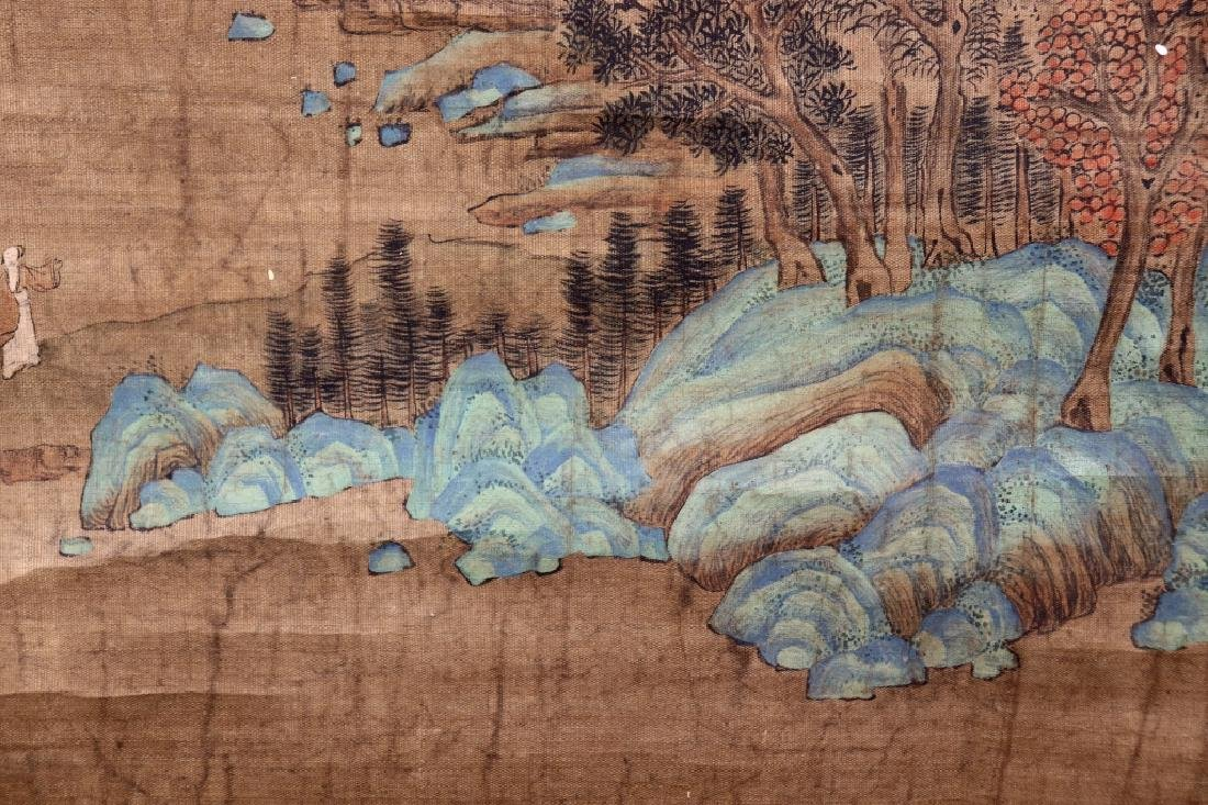Chinese Qing Dynasty Painting on Silk of Mountains - 5