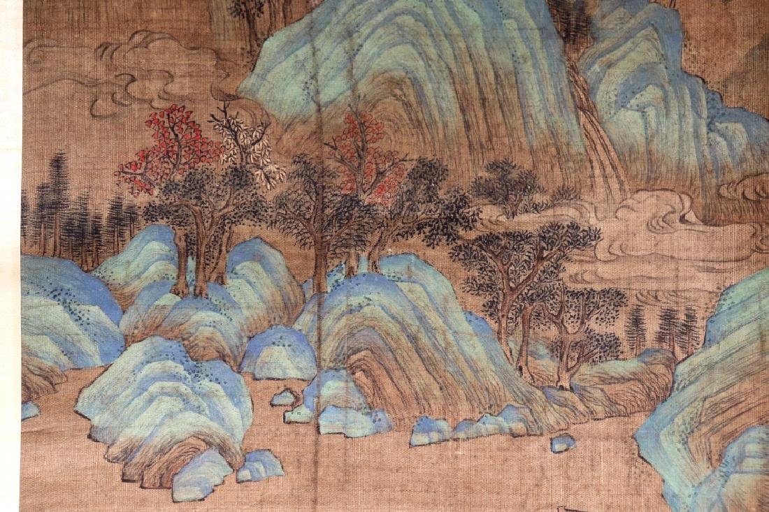 Chinese Qing Dynasty Painting on Silk of Mountains - 7