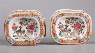 Pr Chinese Early 18 C Porcelain Salt Cellar Dishes