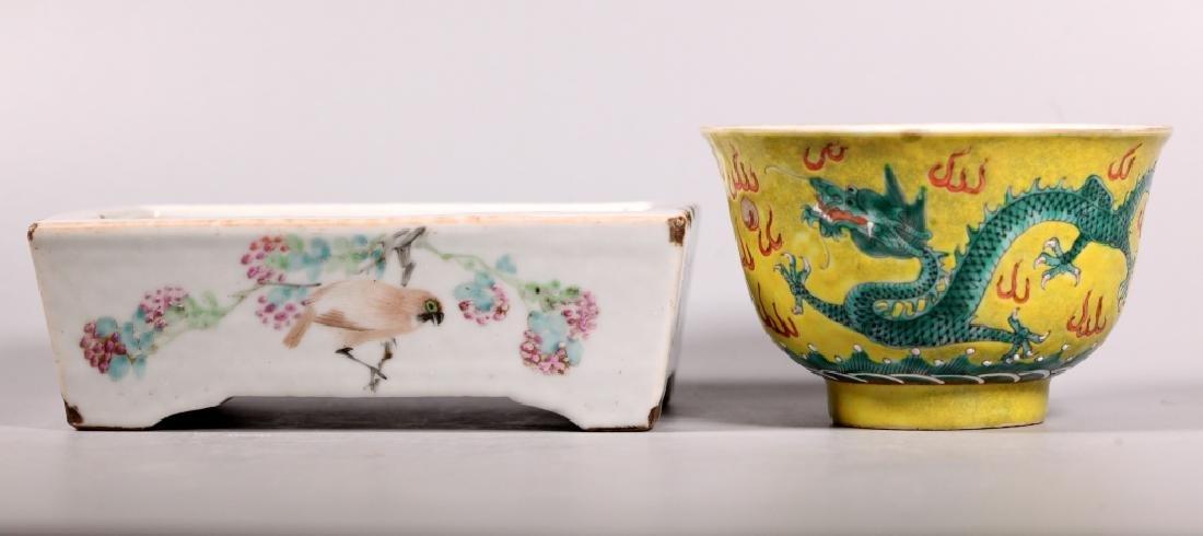 2 Chinese 19 C Enameled Porcelains, Bowl & Planter