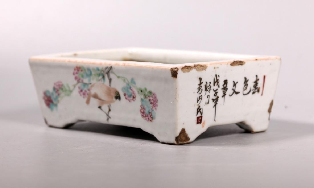 2 Chinese 19 C Enameled Porcelains, Bowl & Planter - 7