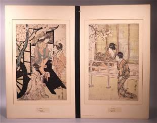 2 - Kitagawa Utamaro; Japanese Woodblock Diptych