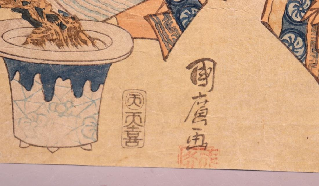 2 Antique Japanese Woodblocks; Woman & Koto, Man - 6