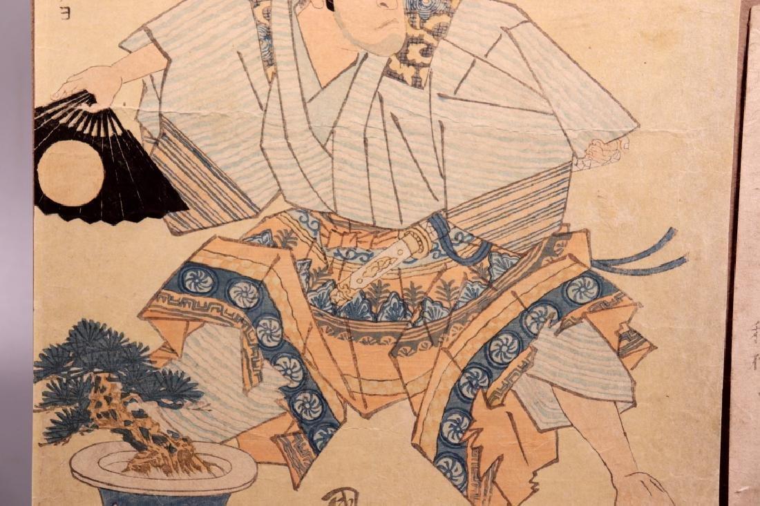 2 Antique Japanese Woodblocks; Woman & Koto, Man - 8
