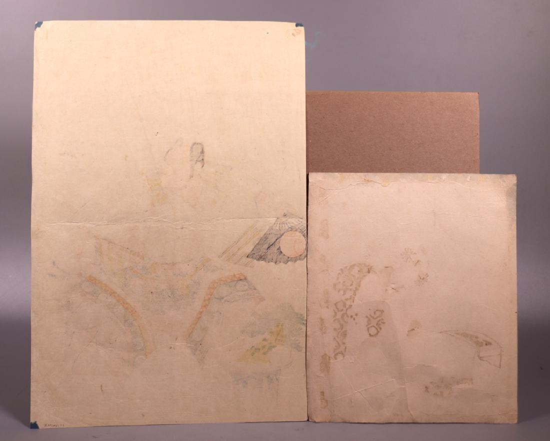 2 Antique Japanese Woodblocks; Woman & Koto, Man - 9