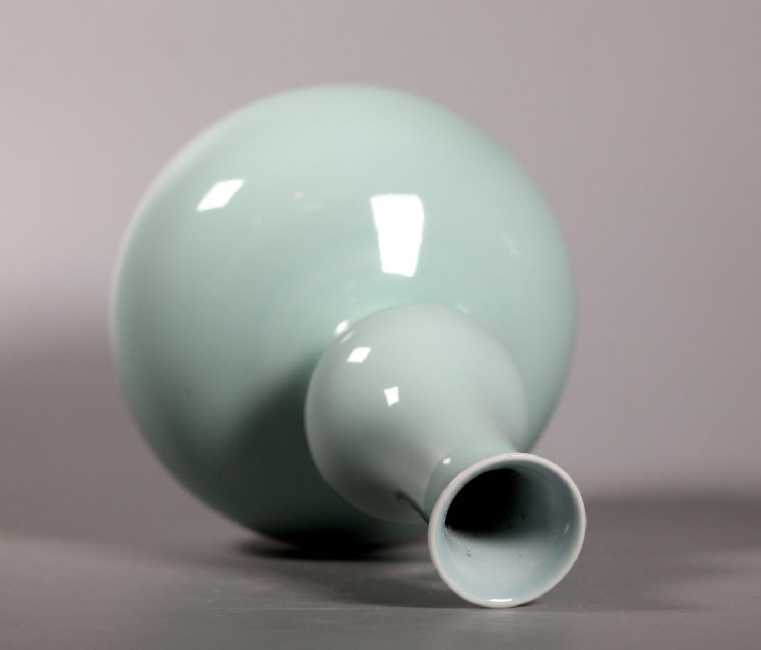 Chinese Pale Blue Monochrome Porcelain Gourd Vase - 2