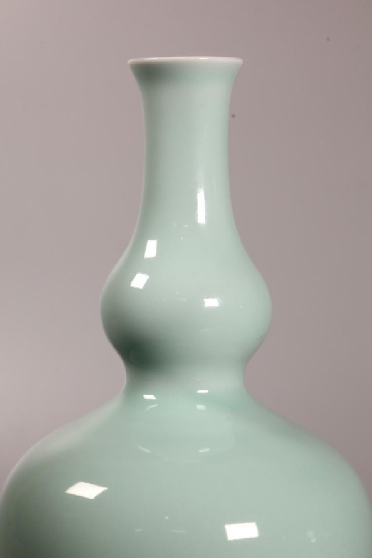 Chinese Pale Blue Monochrome Porcelain Gourd Vase - 4
