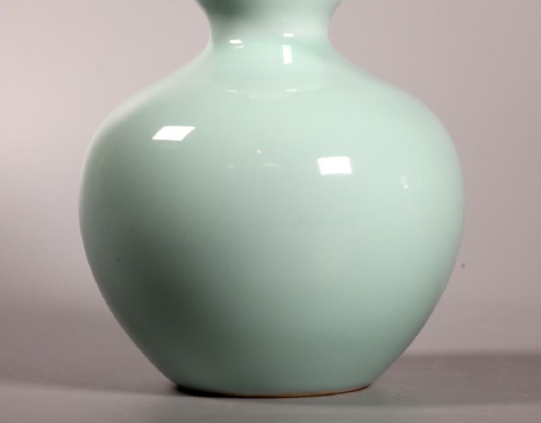 Chinese Pale Blue Monochrome Porcelain Gourd Vase - 6