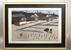 Kiyoshi Saito; Spring Planting Japanese Print