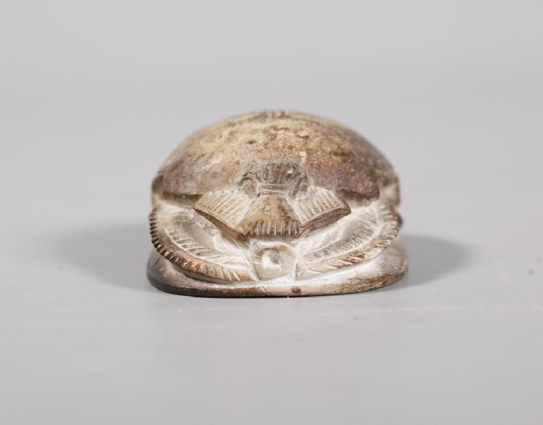Egyptian Scarab Hieroglyphics Chinese Carved Stone - 6
