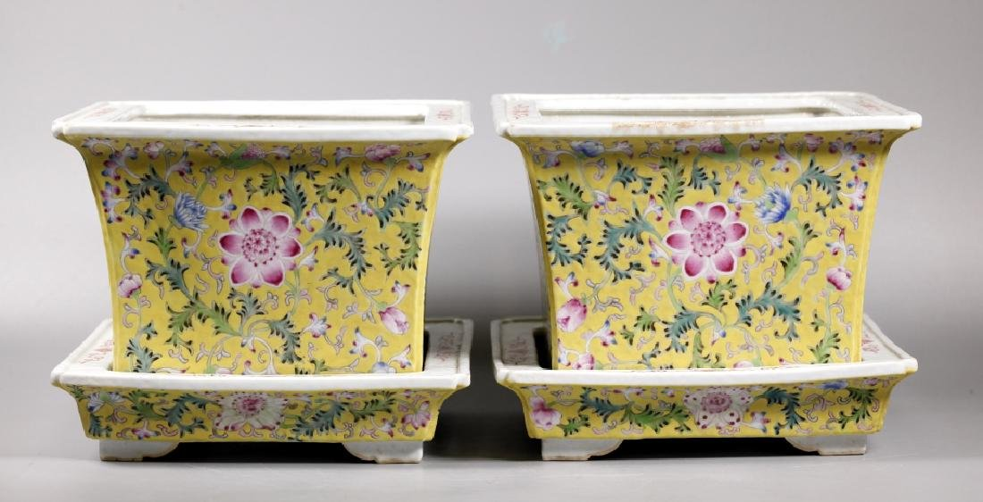 Pr Chinese Late Qing Yellow Porcelain Planter Sets