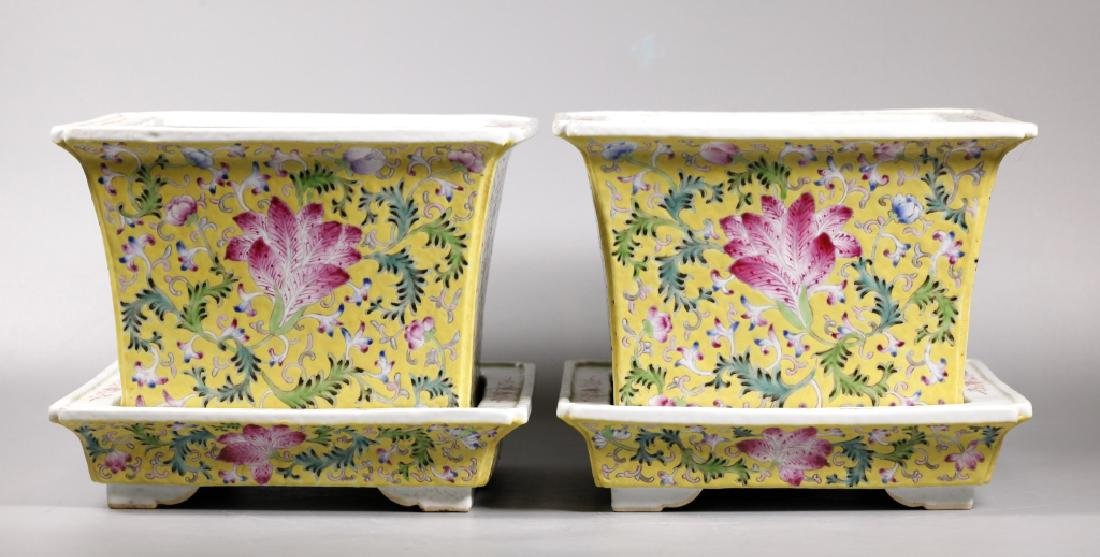 Pr Chinese Late Qing Yellow Porcelain Planter Sets - 2