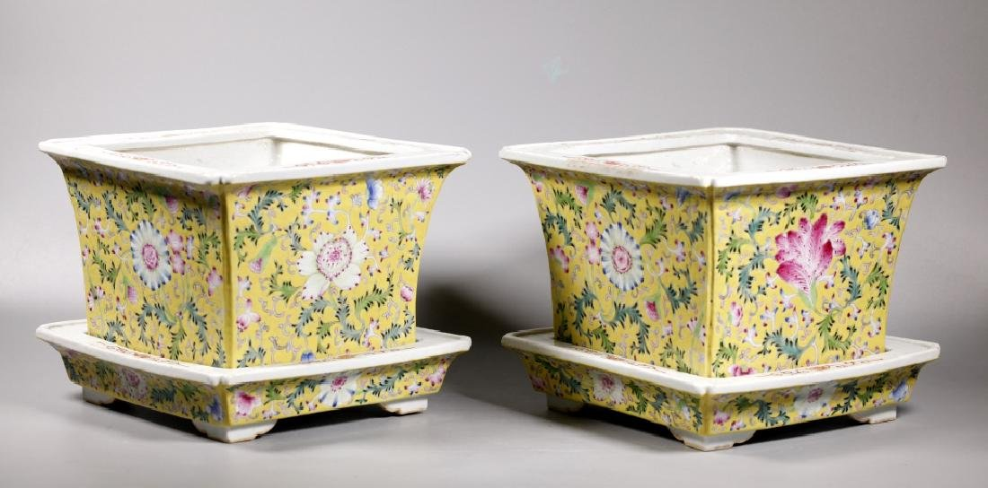 Pr Chinese Late Qing Yellow Porcelain Planter Sets - 3