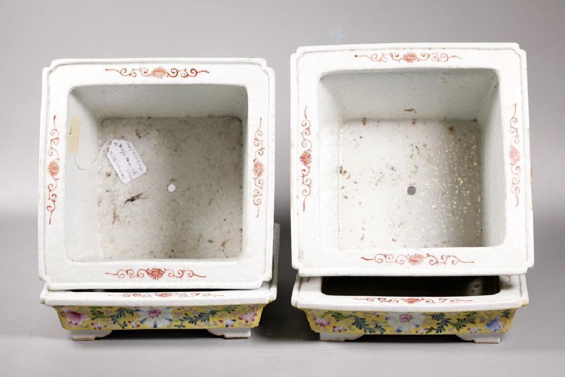 Pr Chinese Late Qing Yellow Porcelain Planter Sets - 4
