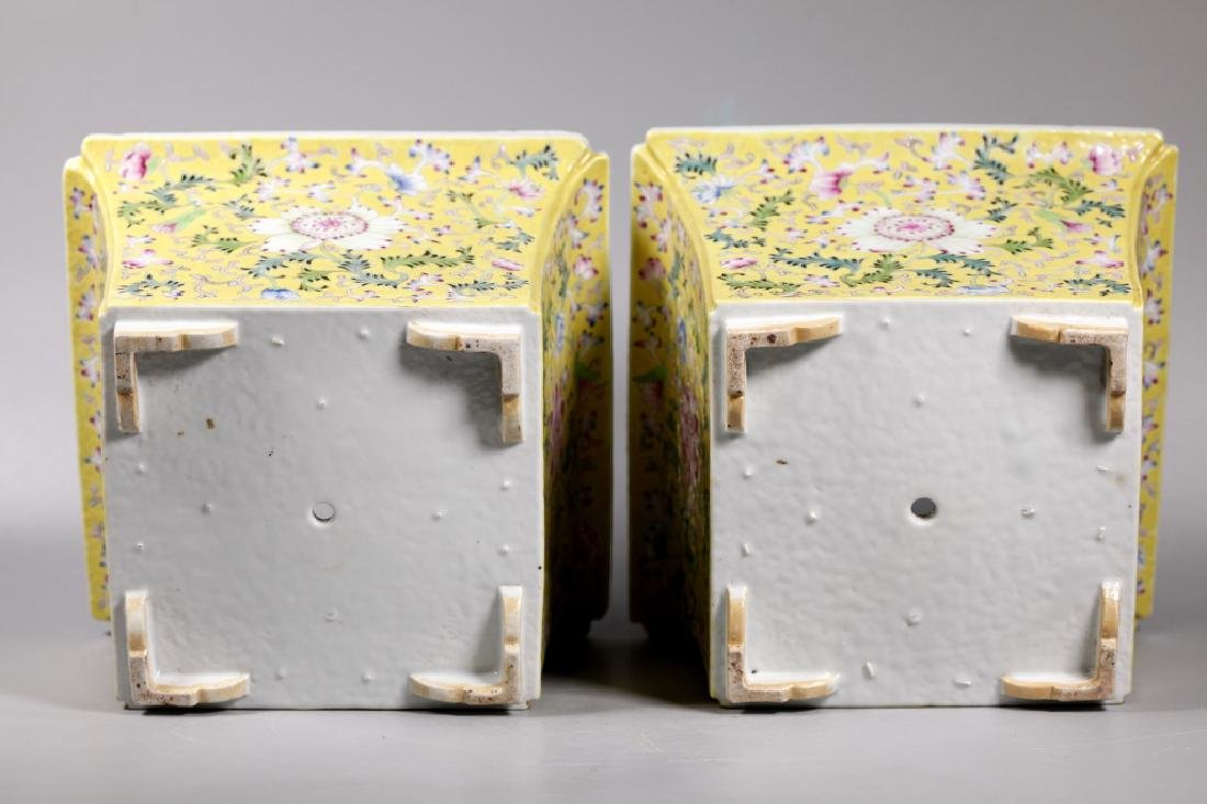 Pr Chinese Late Qing Yellow Porcelain Planter Sets - 6