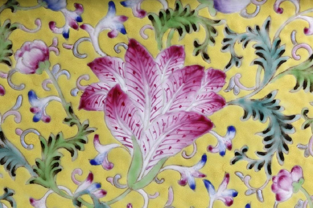 Pr Chinese Late Qing Yellow Porcelain Planter Sets - 9