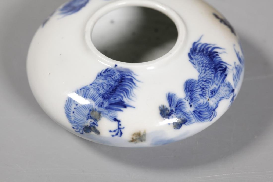 Chinese 19 C Rooster Blue Rooster Porcelain Washer - 5