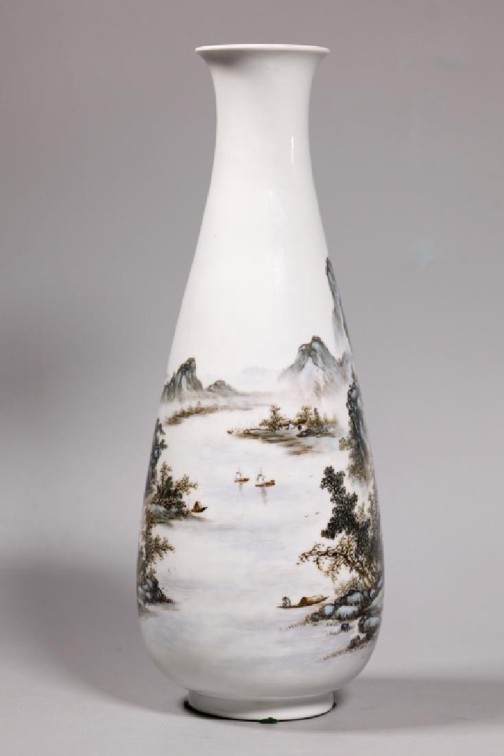 Wang Yeting; Chinese Artist Painted Porcelain Vase - 2