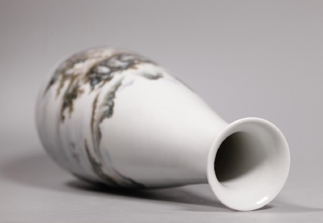 Wang Yeting; Chinese Artist Painted Porcelain Vase - 3