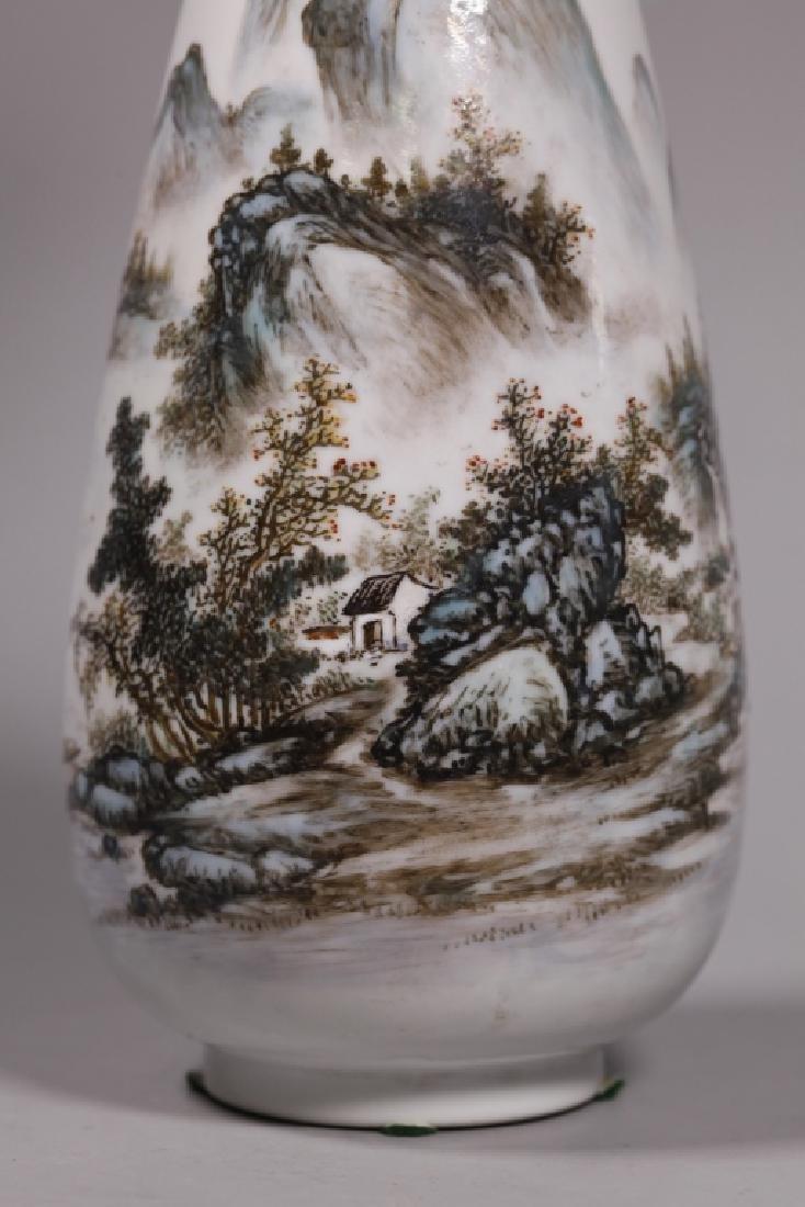 Wang Yeting; Chinese Artist Painted Porcelain Vase - 7