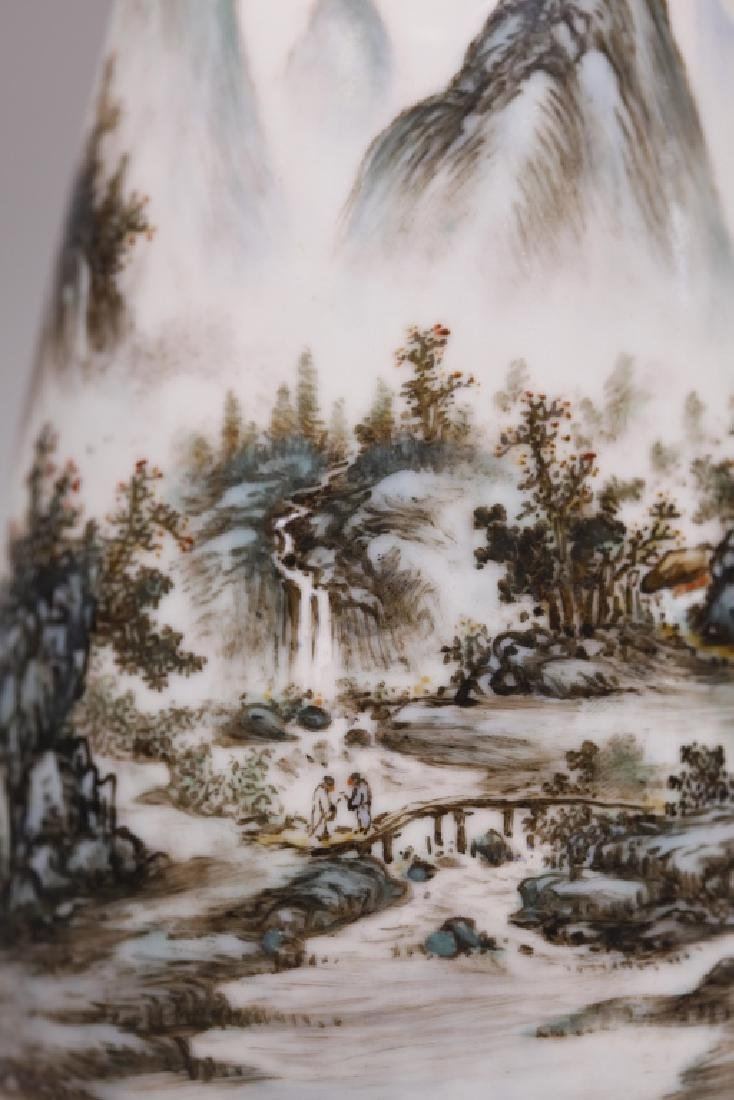Wang Yeting; Chinese Artist Painted Porcelain Vase - 8