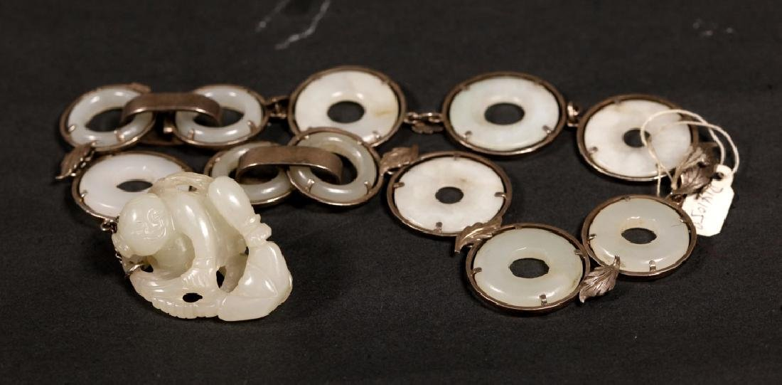 Chinese 19 C White Jade Rings & Pendant Necklace