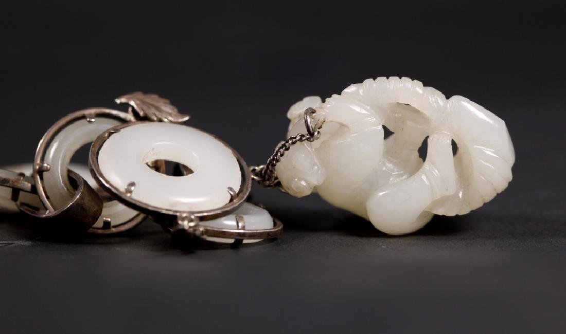Chinese 19 C White Jade Rings & Pendant Necklace - 3