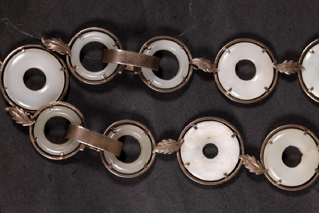 Chinese 19 C White Jade Rings & Pendant Necklace - 5