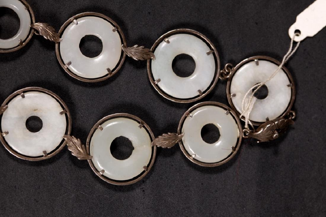 Chinese 19 C White Jade Rings & Pendant Necklace - 6