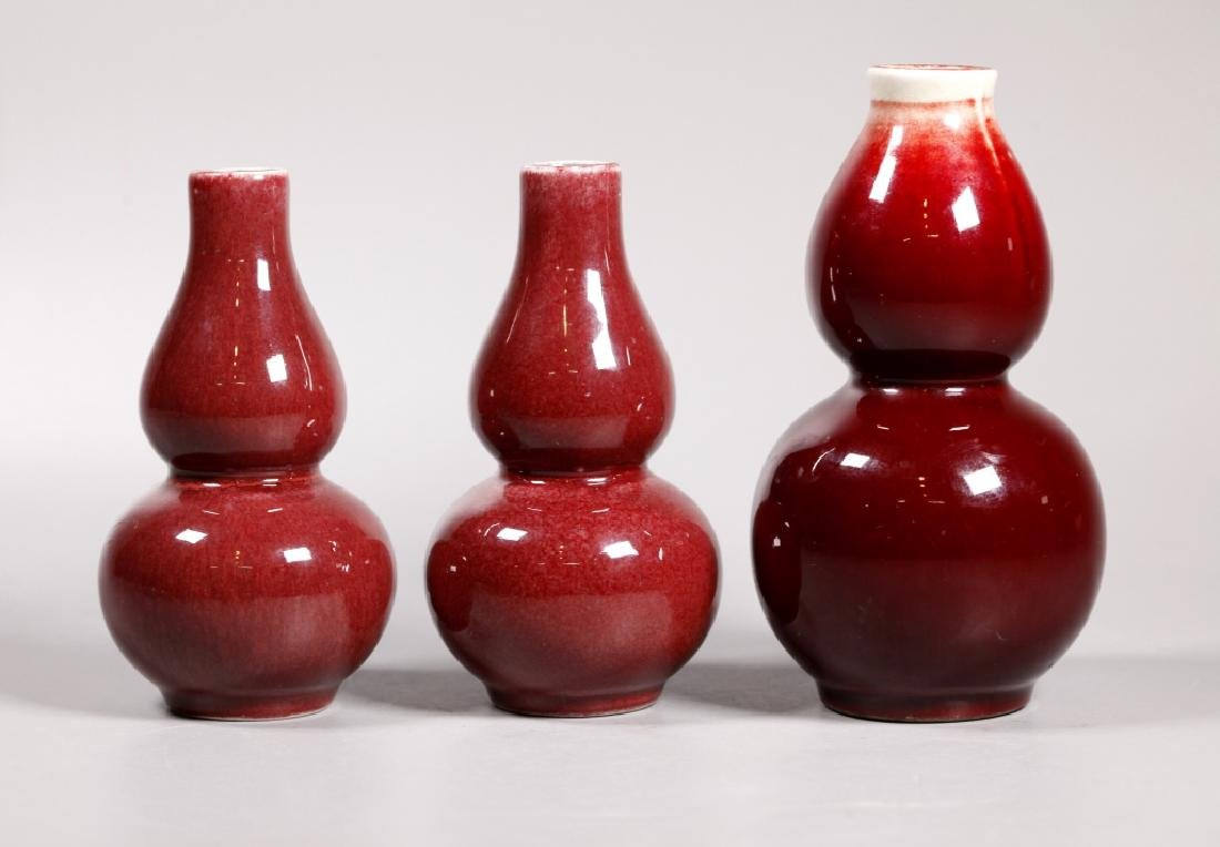 3 Chinese Langyao Red Porcelain Double Gourd Vases