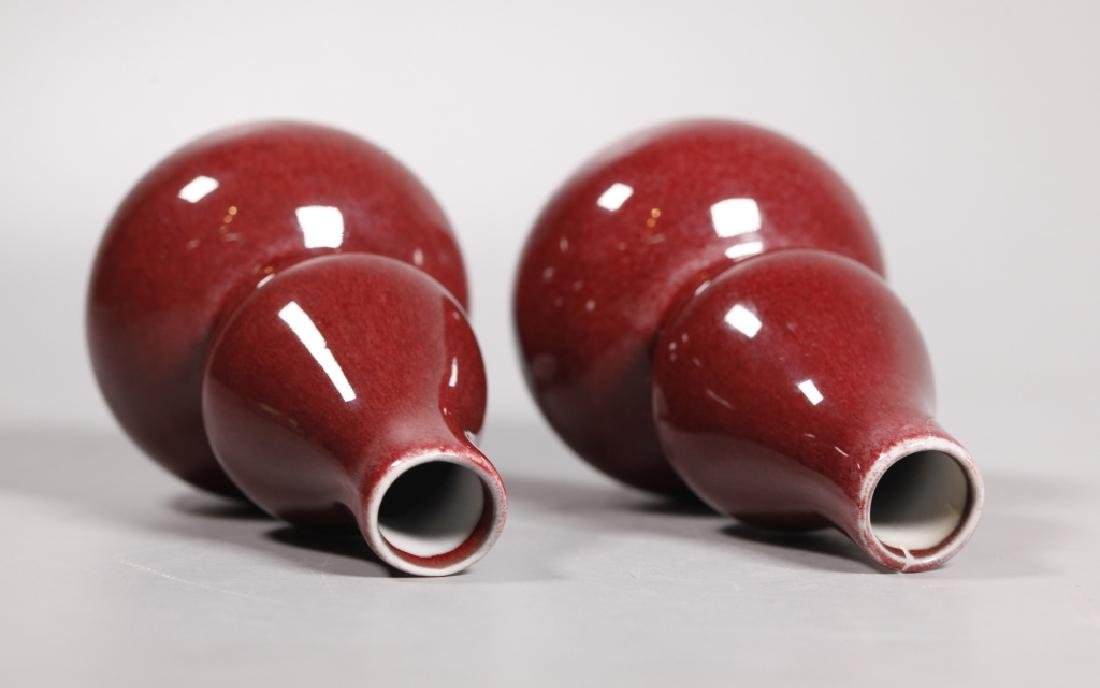 3 Chinese Langyao Red Porcelain Double Gourd Vases - 3