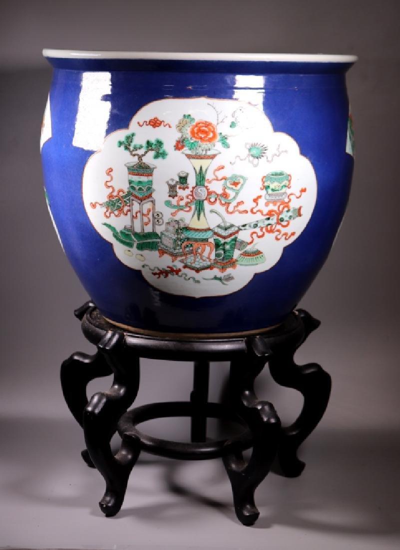 Chinese 19 C Souffle Blue Porcelain Fish Bowl
