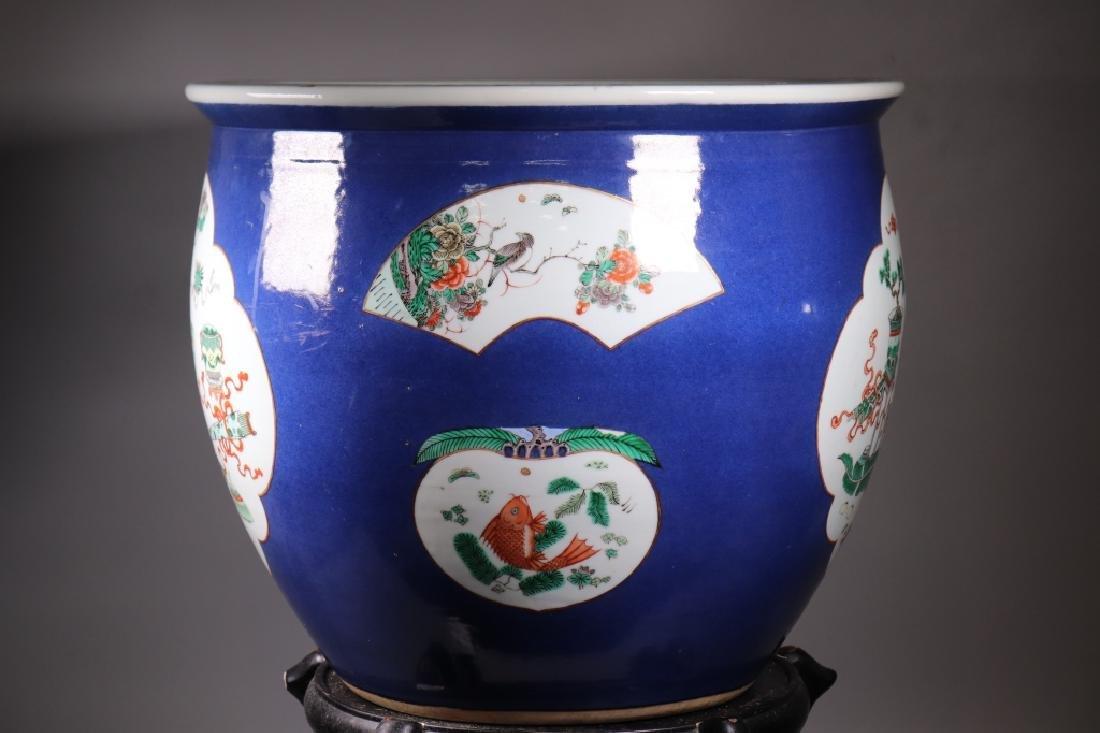 Chinese 19 C Souffle Blue Porcelain Fish Bowl - 4
