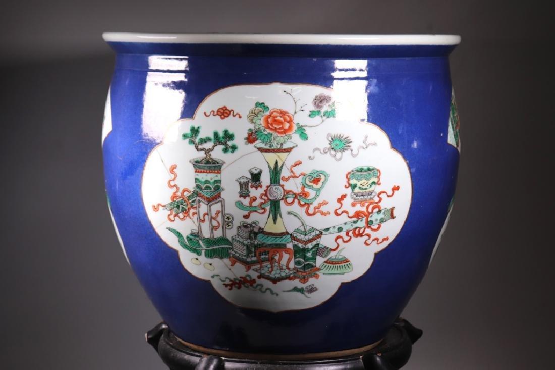 Chinese 19 C Souffle Blue Porcelain Fish Bowl - 6