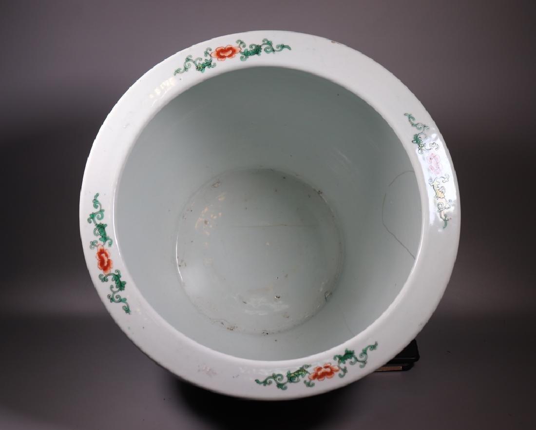 Chinese 19 C Souffle Blue Porcelain Fish Bowl - 9