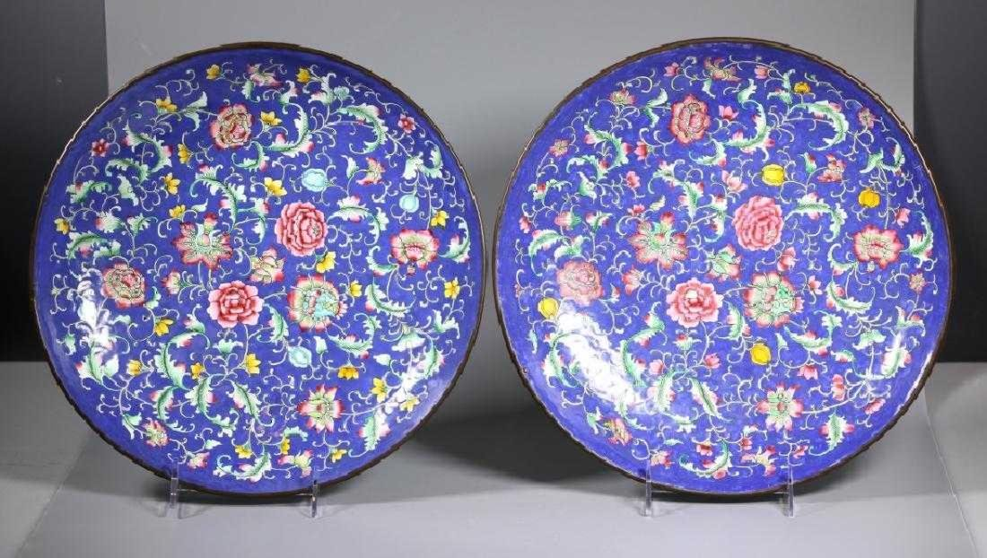 Lg Pr Qing Dynasty Chinese Canton Enamel Chargers